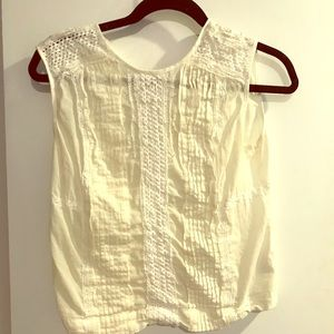 J Crew cropped white blouse